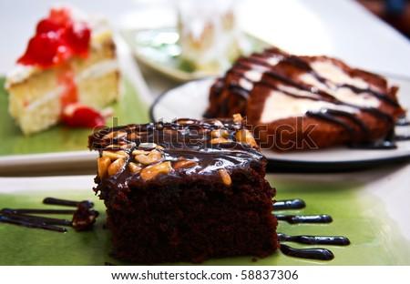 chocolate cake on dish - stock photo