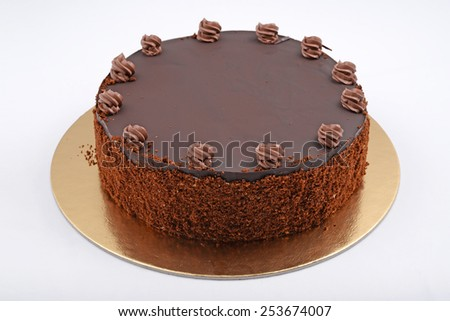 Chocolate Cake on isolated white background. - stock photo