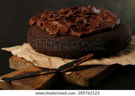 Chocolate cake on table, close-up - stock photo