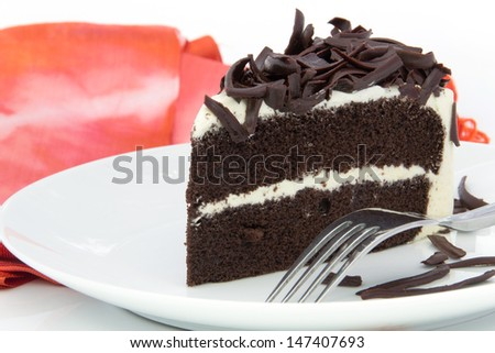 chocolate cake on white plate - stock photo
