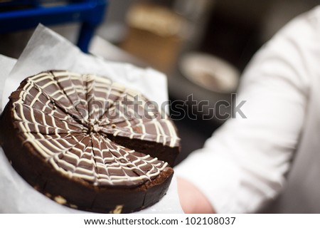 Chocolate cake ready to be eaten for dessert - stock photo
