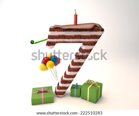 Chocolate cake top by balloon and gift box lit candle for a birthday or anniversary celebration/Number Seven Shaped Chocolate Cake - stock photo