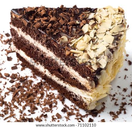 Chocolate cake with almonds closeup - stock photo