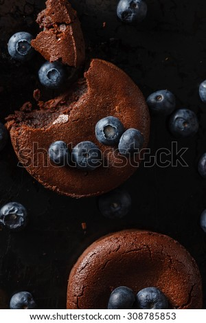 chocolate cake with blueberries - stock photo