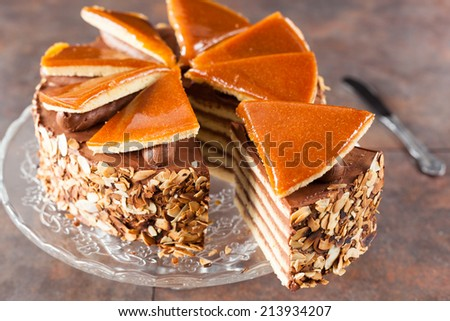 Chocolate Cake with Caramelized Top  - stock photo