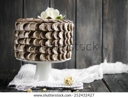 Chocolate cake with cherry and chocolate mousse - stock photo