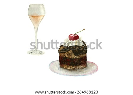 chocolate cake with cherry and glass of rose champagne, hand-drawn watercolor - stock photo