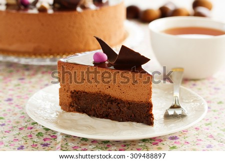 Chocolate cake with chestnut mousse brownie. - stock photo