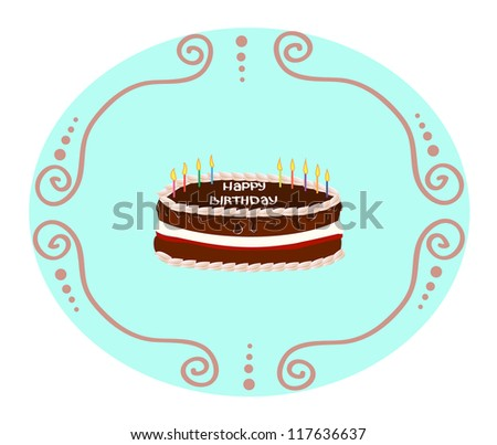 chocolate cake with cream with candles on his birthday - stock photo