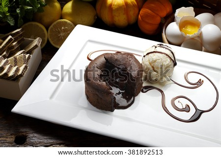 Chocolate Cake with Fresh, ice cream - stock photo