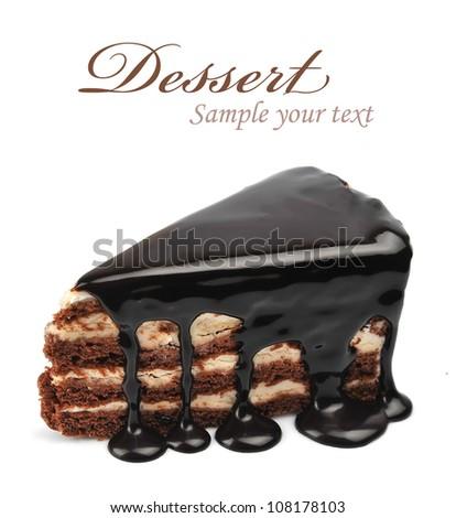 Chocolate cake with glaze - stock photo