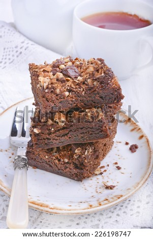 Chocolate cake with nuts - stock photo