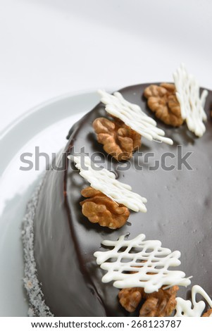 Chocolate cake with nuts and chocolate chips - stock photo