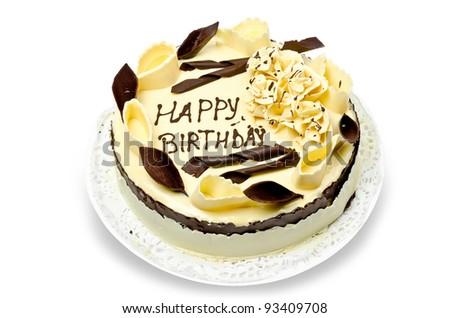 Chocolate cake with words happy birthday on it - stock photo