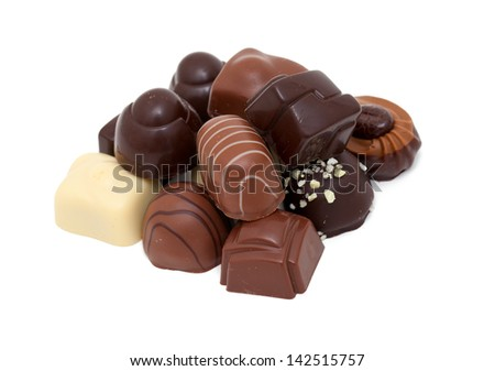 chocolate candies over white - stock photo