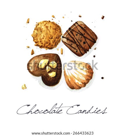 Chocolate Candies - Watercolor Food Collection - stock photo