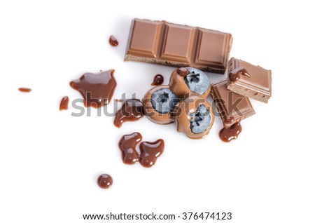 Chocolate candy with blueberry isolated on white  - stock photo