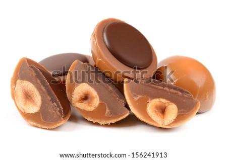 Chocolate Caramel Isolated - stock photo