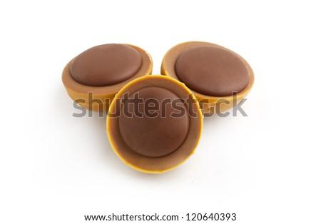 Chocolate Caramel Isolated on White - stock photo