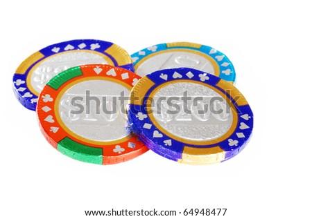 chocolate casino chips - stock photo