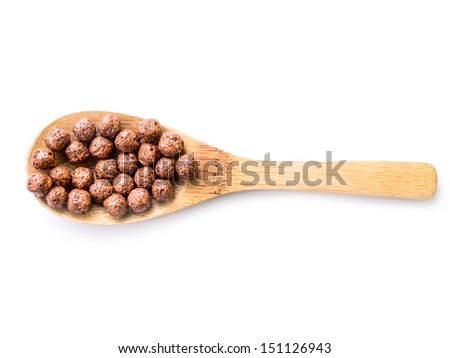 Chocolate cereal on white background - stock photo