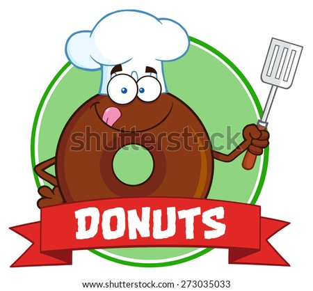 Chocolate Chef Donut Cartoon Character Circle Label With Text. Raster Illustration Isolated On White - stock photo