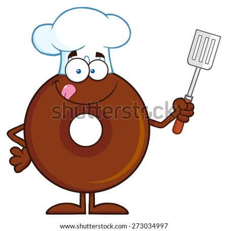 Chocolate Chef Donut Cartoon Character Holding A Slotted Spatula. Raster Illustration Isolated On White - stock photo