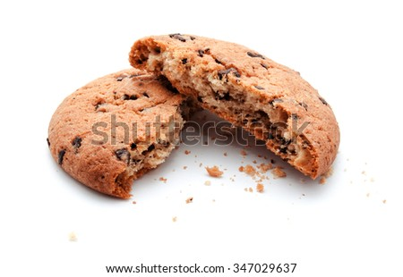 Chocolate chip bite cookies isolated on a white background - stock photo