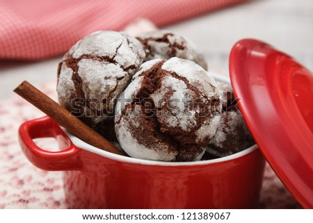 chocolate chip cookie with cracks - stock photo