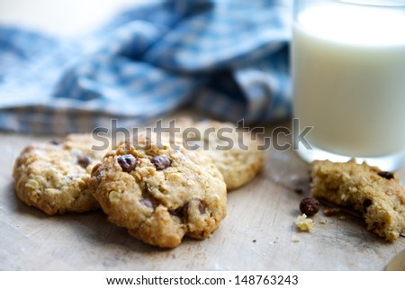 Chocolate Chip Cookies and a Glass of Milk - stock photo