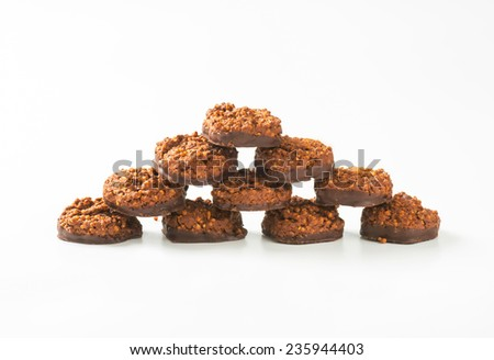 chocolate chip cookies formed into a pyramid - stock photo