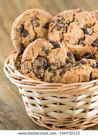 Chocolate chip cookies in a basket - stock photo