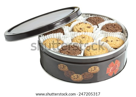 chocolate chip cookies in a box isolated - stock photo