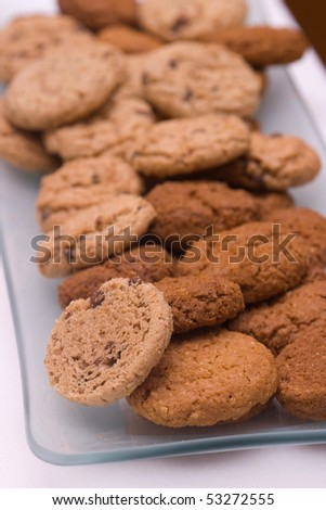 Chocolate chip cookies on a plate - stock photo