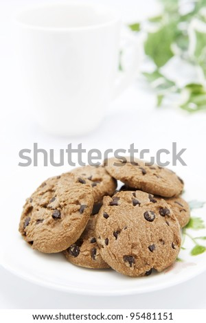 Chocolate chip cookies on plate. - stock photo