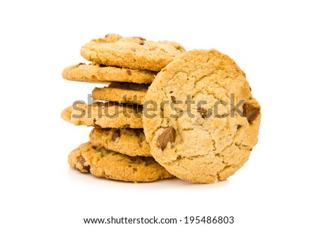 Chocolate chip cookies placed on white background. - stock photo
