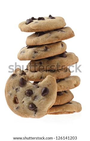Chocolate Chip Cookies with bite - stock photo