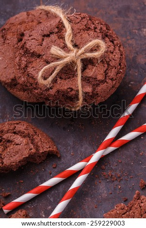 Chocolate chip cookies with cracks.selective focus - stock photo
