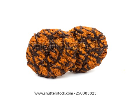 Chocolate chip cookies with peanuts isolated on white background - stock photo