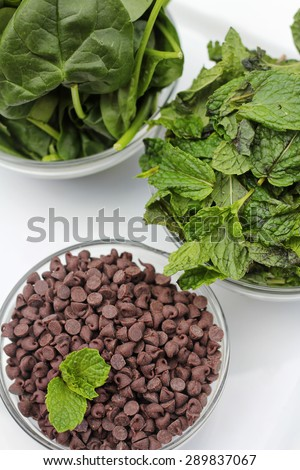 chocolate chips and mint spinach vertical on top - stock photo