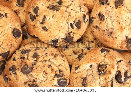 Chocolate chips cookies, close up - stock photo