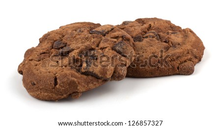 Chocolate chips cookies isolated on white background - stock photo
