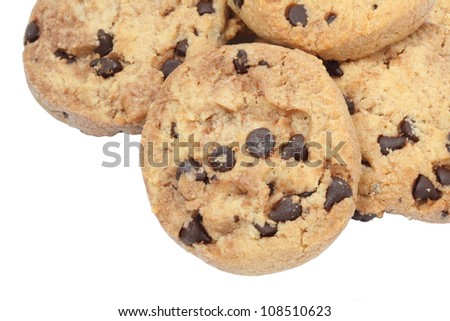 Chocolate Chips Cookies On White Background - stock photo