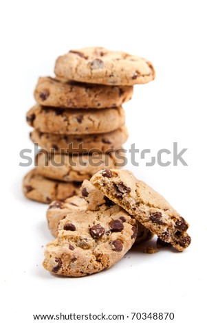 chocolate chips cookies, on white background - stock photo