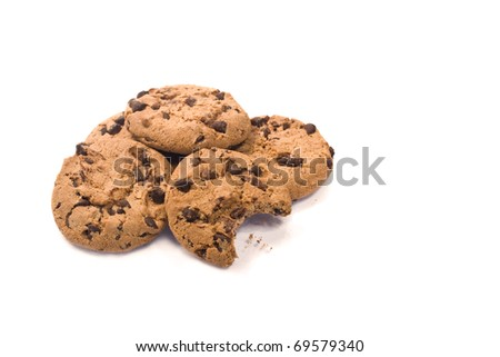 chocolate chips isolated on white - stock photo