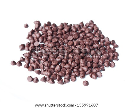 Chocolate chips, isolated on white background - stock photo