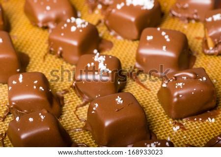 Chocolate coated caramel candies with sea salt garnish - stock photo