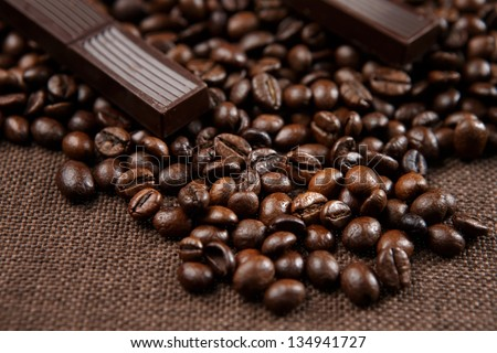 Chocolate-Coffee background: Close-up of a beans - stock photo