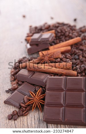 chocolate,coffee bean and ingredients - stock photo