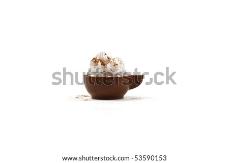 Chocolate coffee cup with cream isolated on white - stock photo